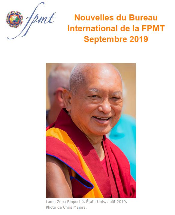 Nouvelles de Lama Zopa Rinpoché : Septembre 2019