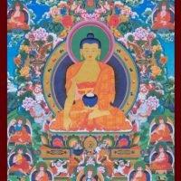 Carte du Bouddha Shakyamouni entouré des dix-sept Pandits