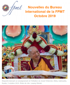 Nouvelles de Lama Zopa Rinpoché – octobre 2019