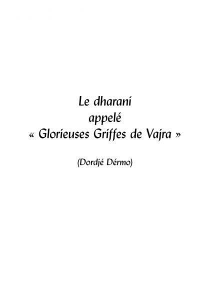 glorieuses griffes de vajra editions mahayana